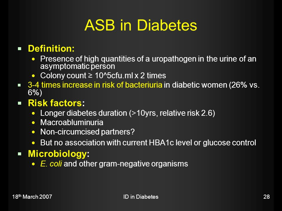 ASB in Diabetes Definition: Risk factors: Microbiology: