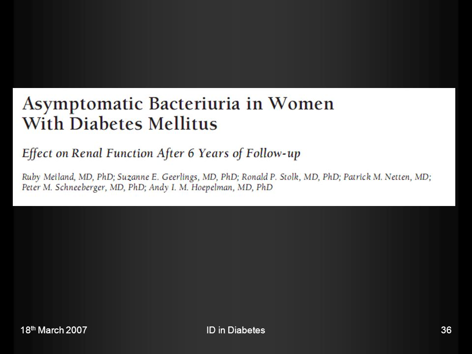 18th March 2007 ID in Diabetes