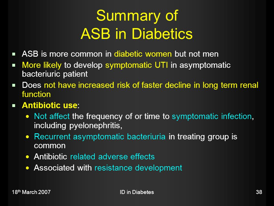 Summary of ASB in Diabetics