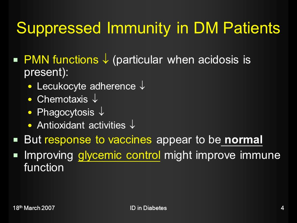 Suppressed Immunity in DM Patients