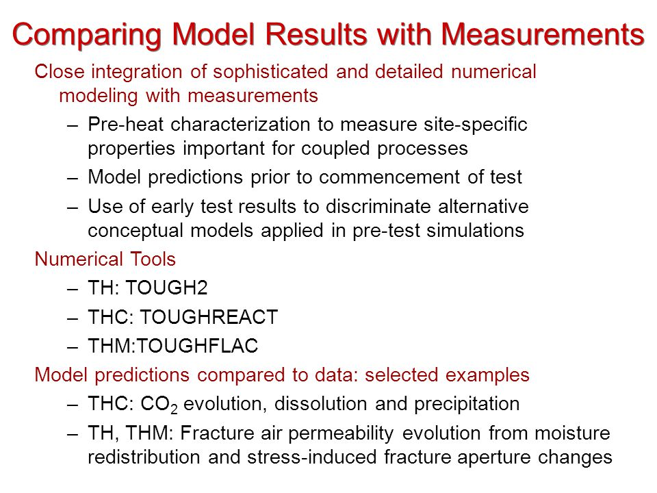 Comparing Model Results with Measurements