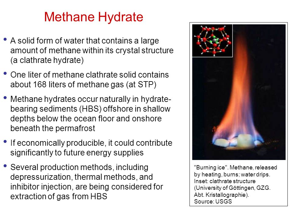 Methane Hydrate A solid form of water that contains a large amount of methane within its crystal structure (a clathrate hydrate)