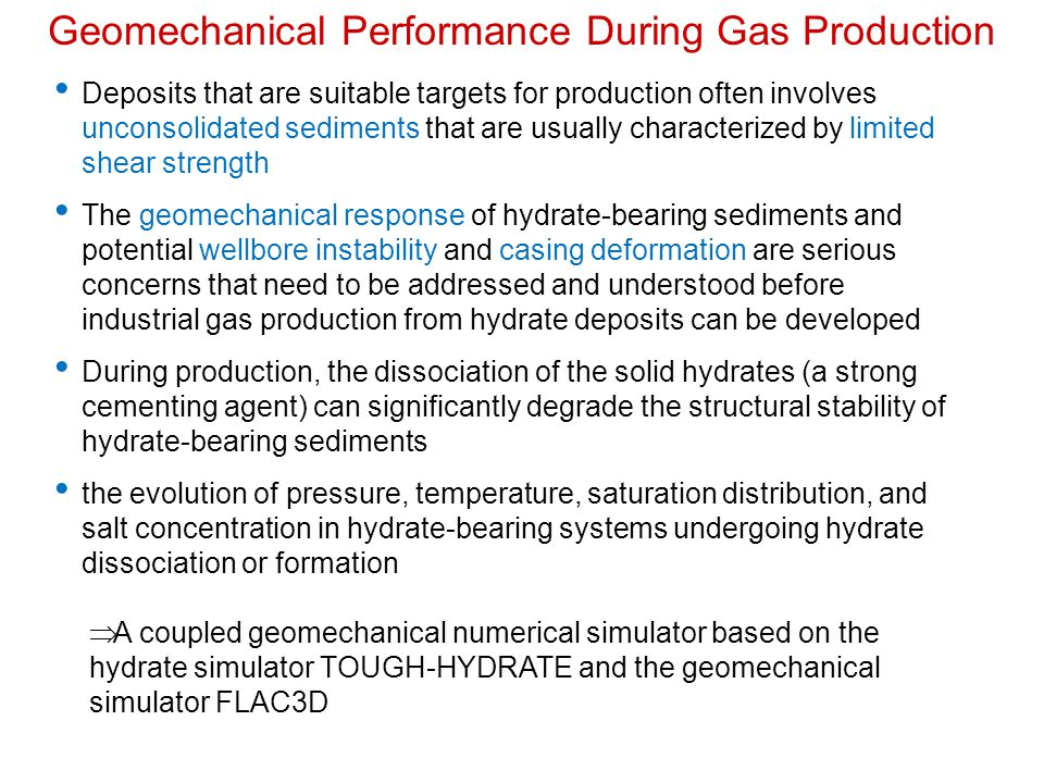 Geomechanical Performance During Gas Production