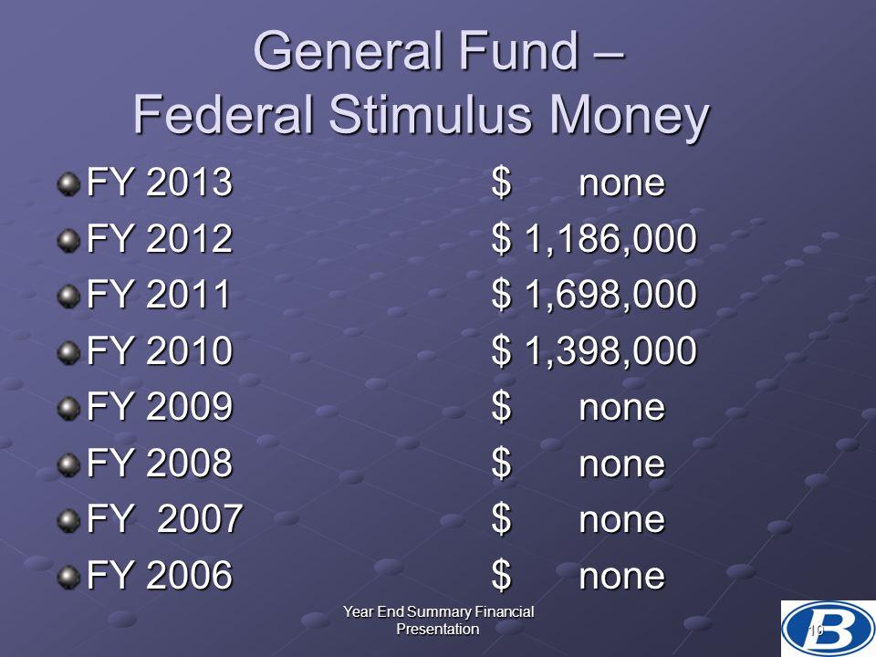 General Fund – Federal Stimulus Money