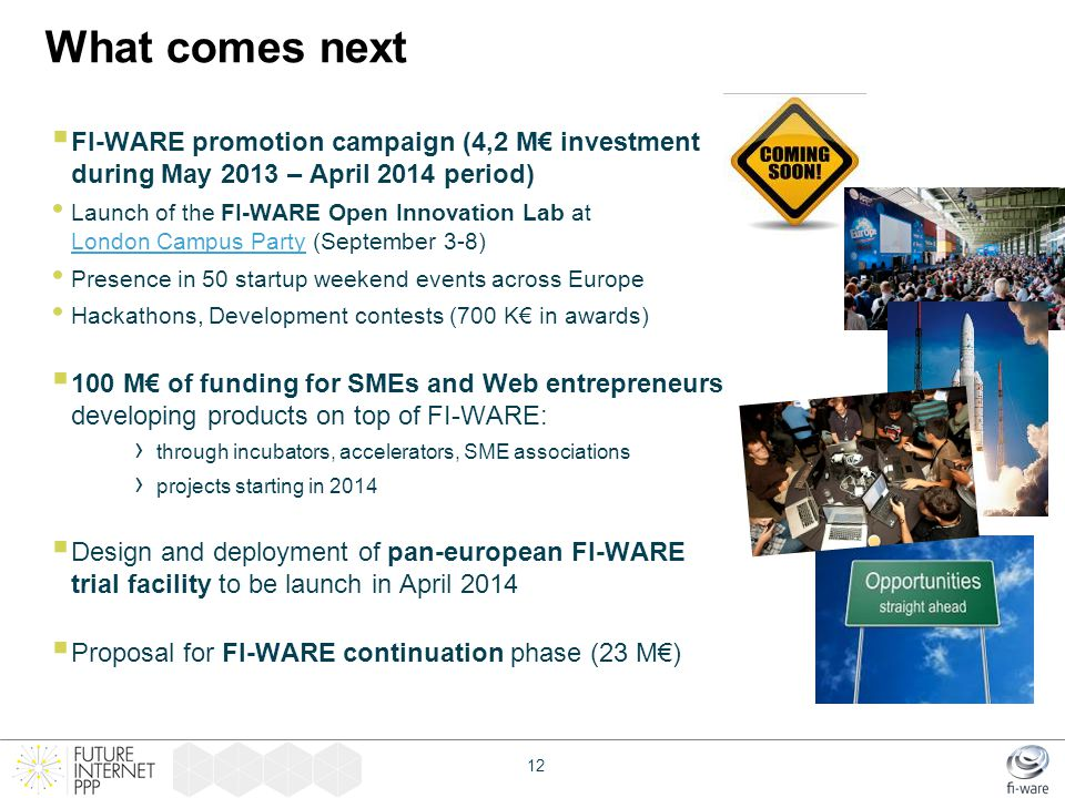 What comes next FI-WARE promotion campaign (4,2 M€ investment during May 2013 – April 2014 period)
