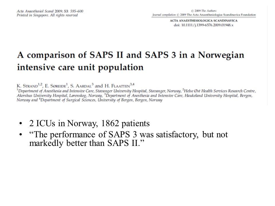 2 ICUs in Norway, 1862 patients