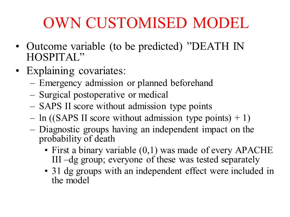 OWN CUSTOMISED MODEL Outcome variable (to be predicted) DEATH IN HOSPITAL Explaining covariates:
