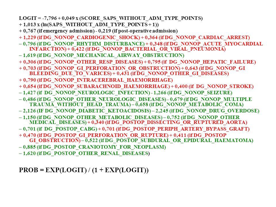 PROB = EXP(LOGIT) / (1 + EXP(LOGIT))