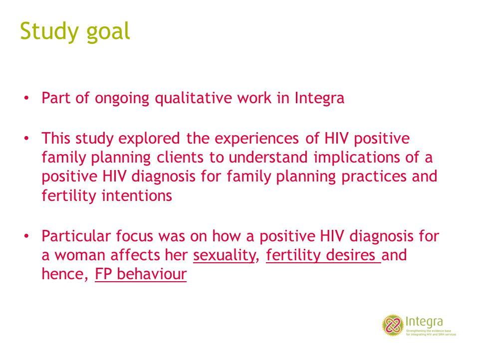 Study goal Part of ongoing qualitative work in Integra