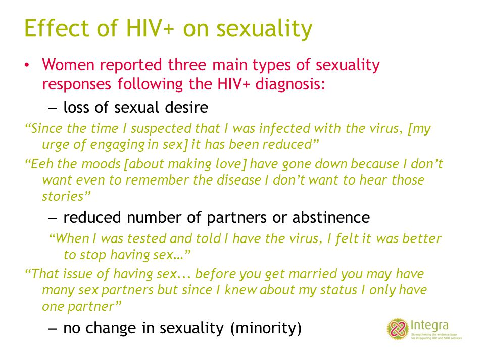 Effect of HIV+ on sexuality