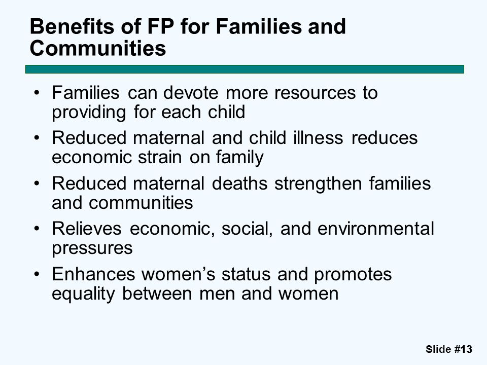 Benefits of FP for Families and Communities
