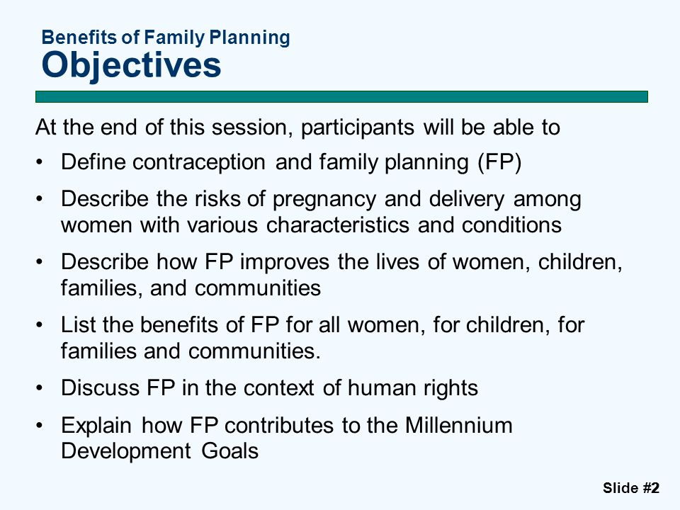 Benefits of Family Planning Objectives