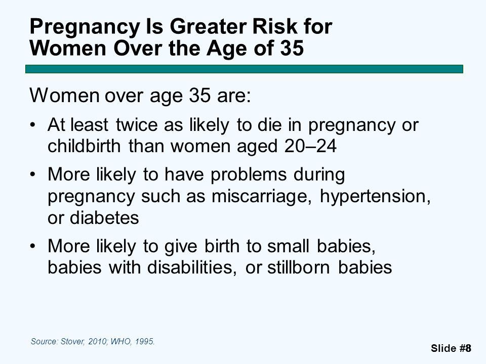 Pregnancy Is Greater Risk for Women Over the Age of 35