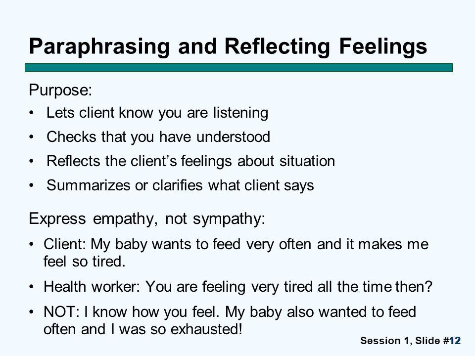 Paraphrasing and Reflecting Feelings