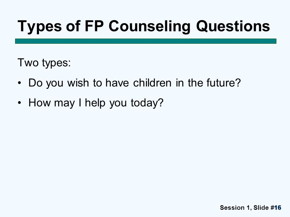 Types of FP Counseling Questions
