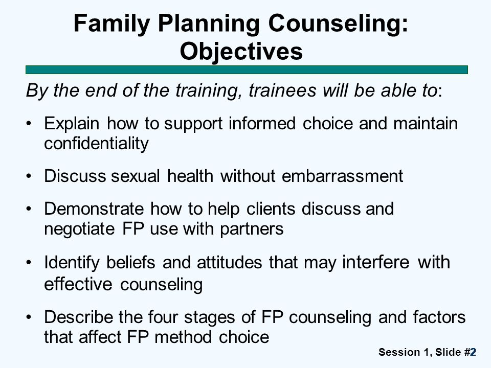 Family Planning Counseling: Objectives
