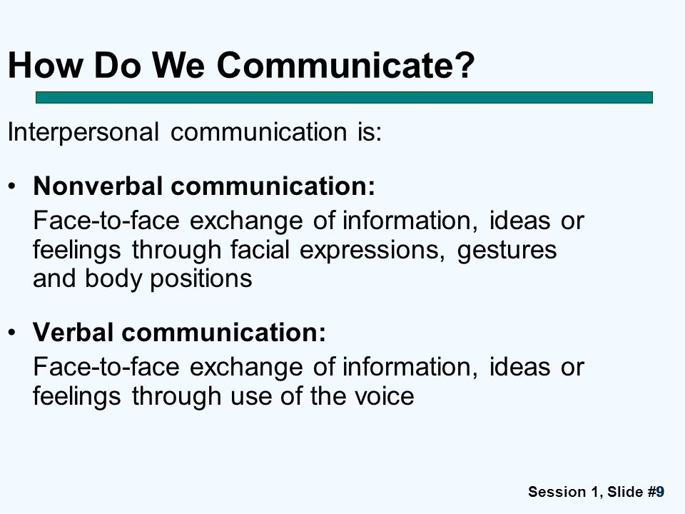 How Do We Communicate Interpersonal communication is: