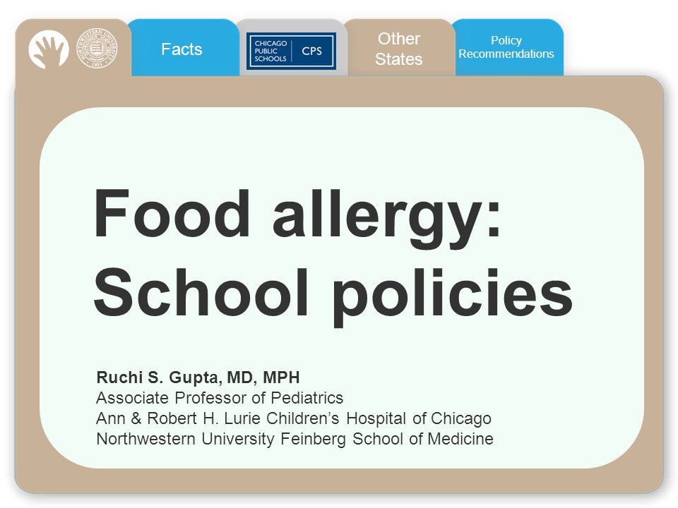 Food allergy: School policies