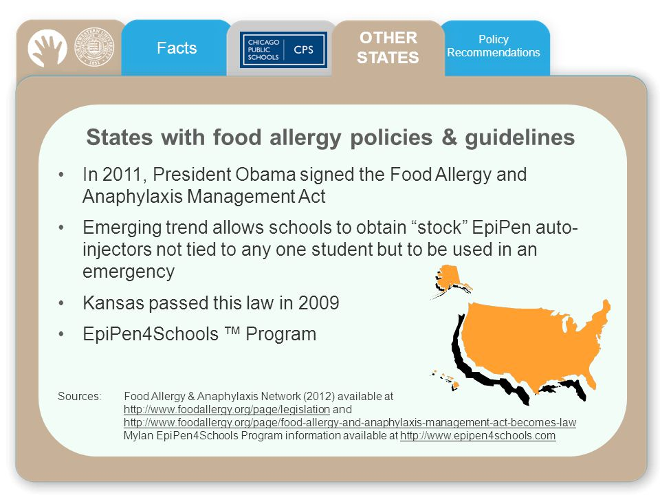 States with food allergy policies & guidelines