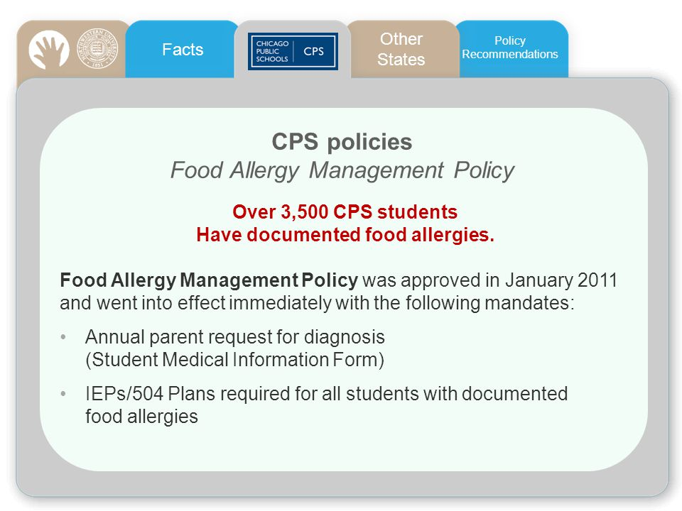 Have documented food allergies.