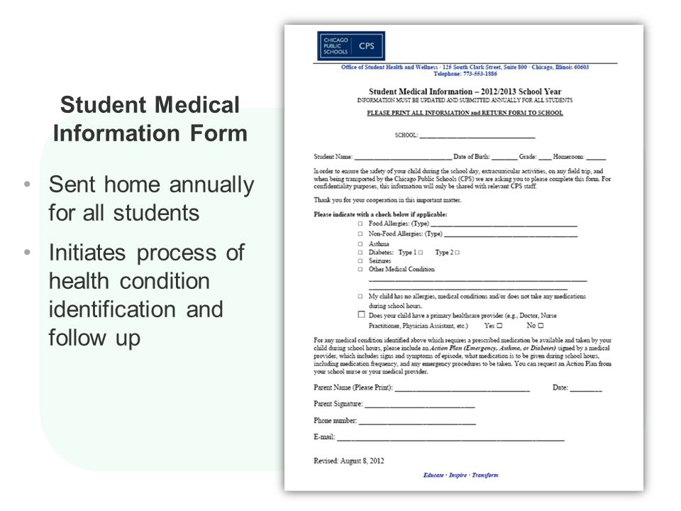 Student Medical Information Form