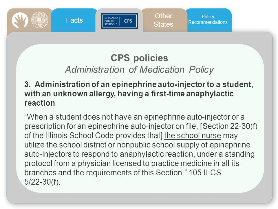 CPS policies Administration of Medication Policy