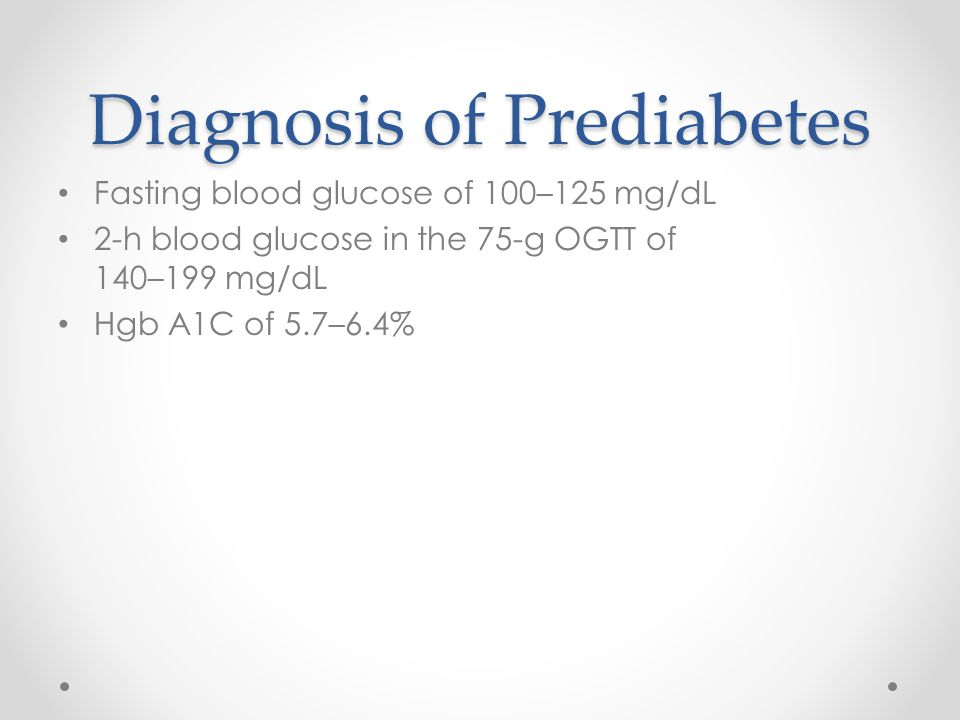Diagnosis of Prediabetes