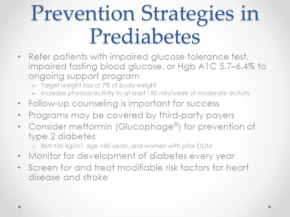 Prevention Strategies in Prediabetes