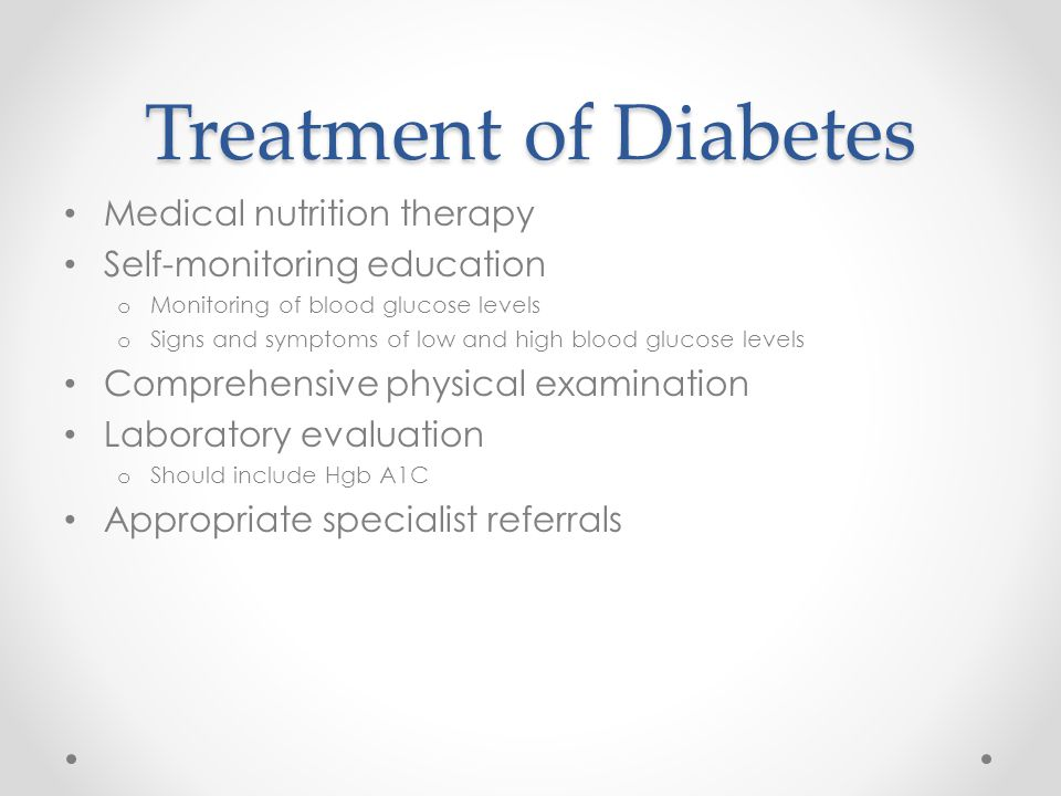 Treatment of Diabetes Medical nutrition therapy
