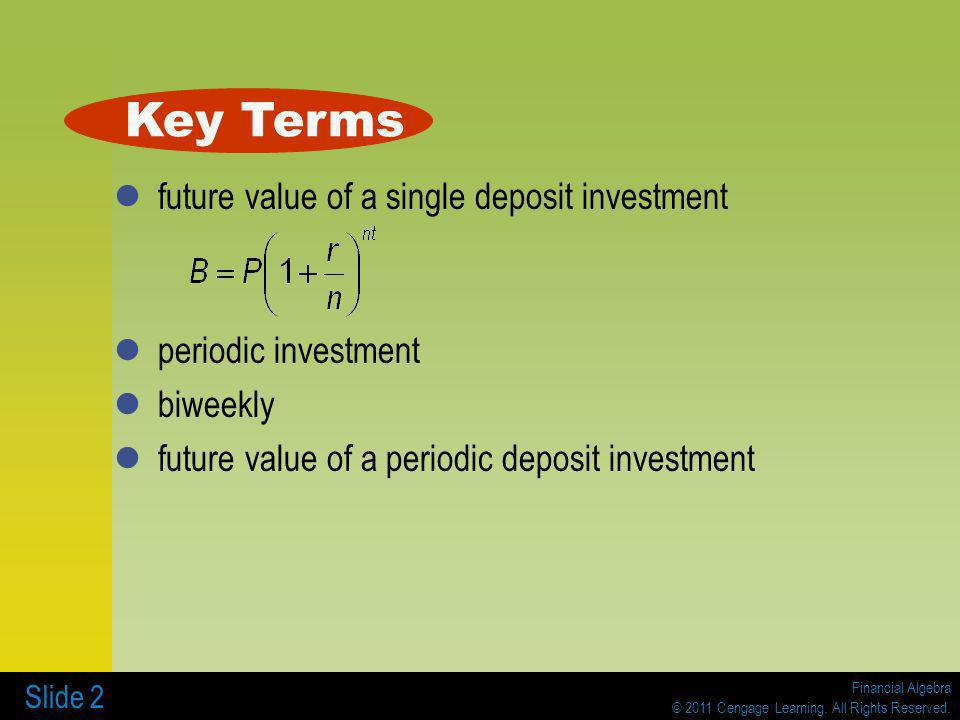 Key Terms future value of a single deposit investment