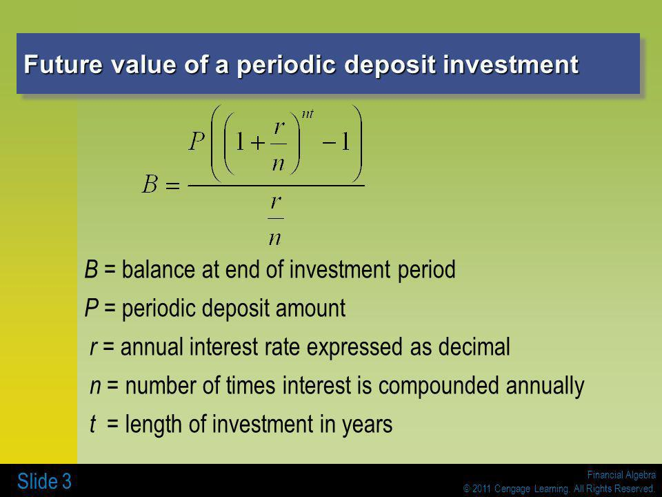 Future value of a periodic deposit investment