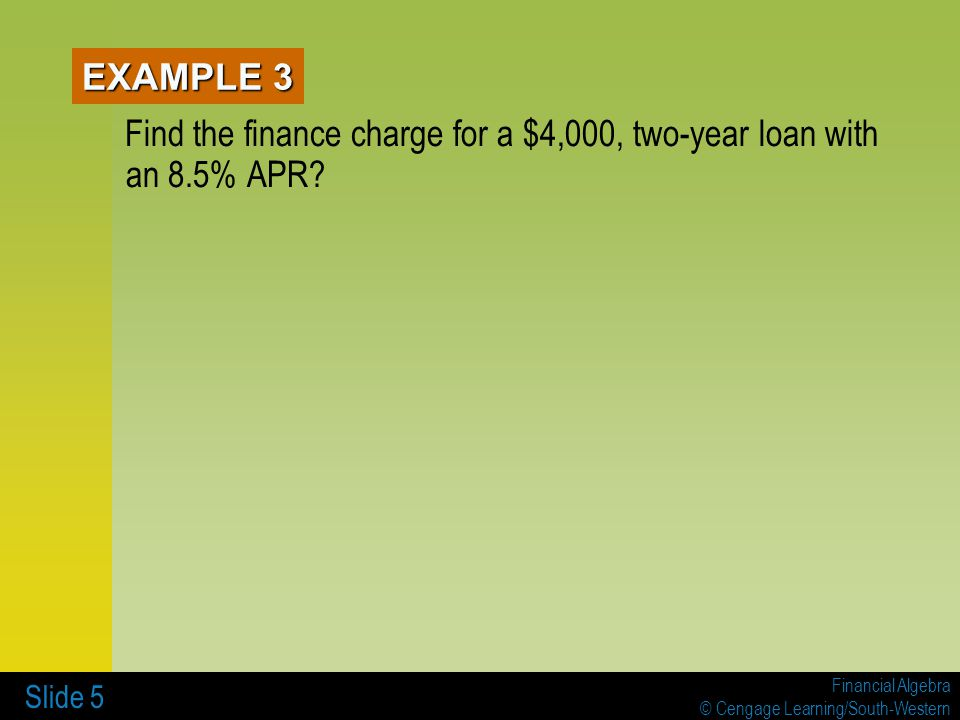 Find the finance charge for a $4,000, two-year loan with an 8.5% APR