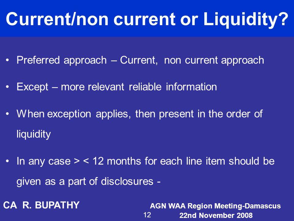 Current/non current or Liquidity