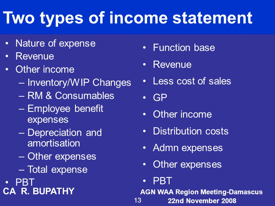 Two types of income statement