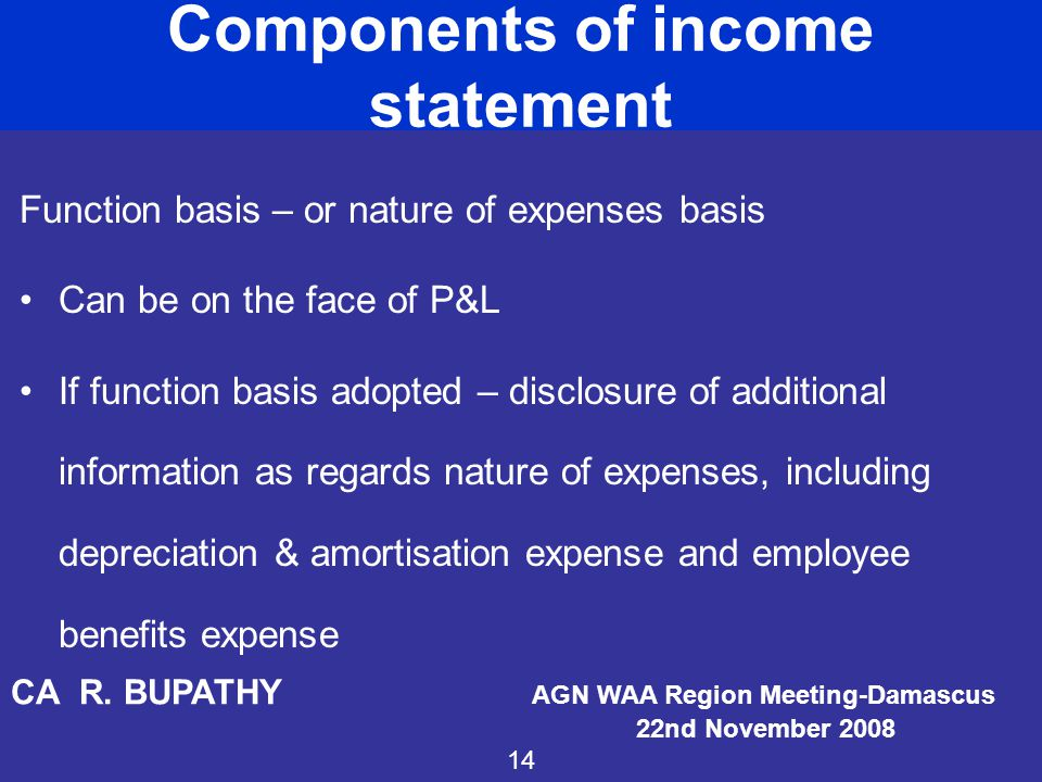 Components of income statement