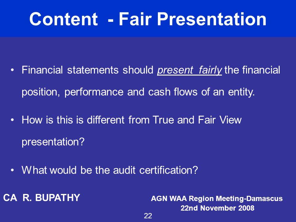 Content - Fair Presentation