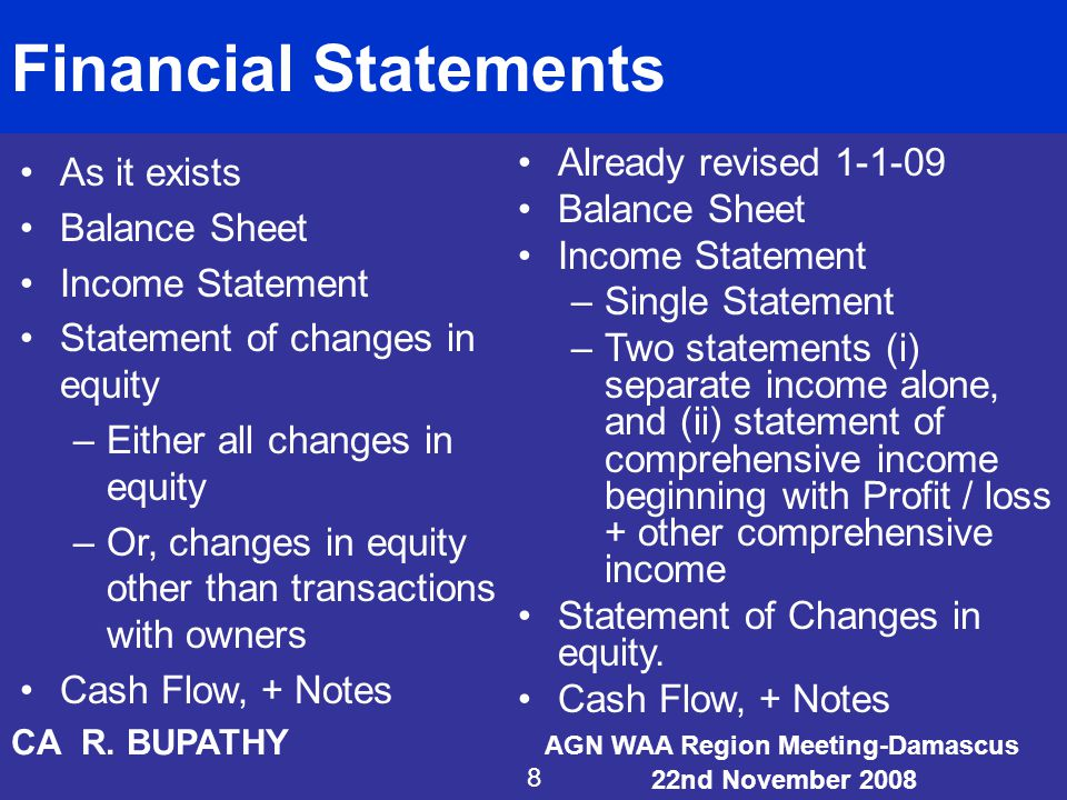 Financial Statements As it exists Balance Sheet Income Statement