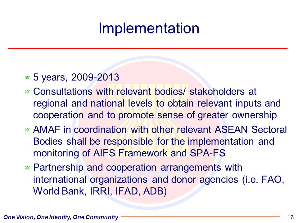 Implementation 5 years, 2009-2013