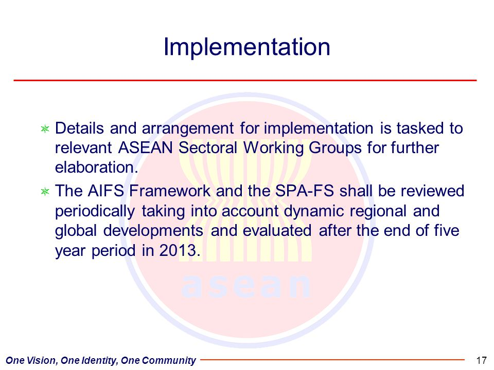Implementation Details and arrangement for implementation is tasked to relevant ASEAN Sectoral Working Groups for further elaboration.
