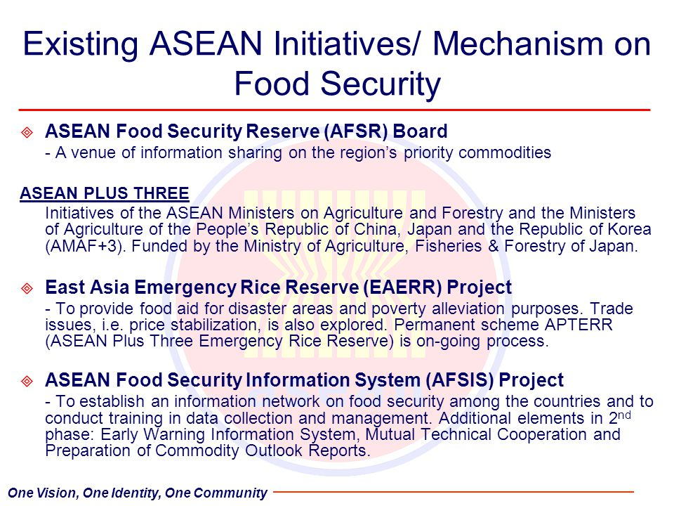 Existing ASEAN Initiatives/ Mechanism on Food Security