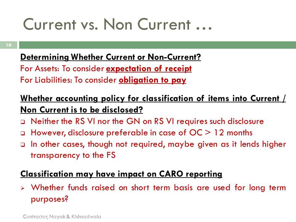 Current vs. Non Current …