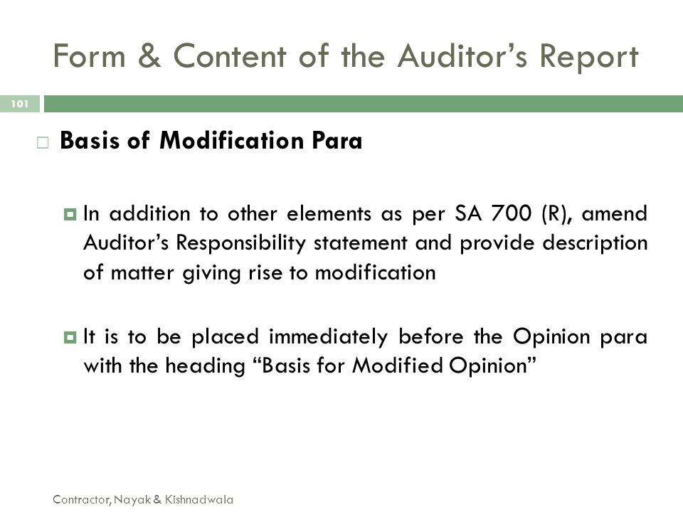 Form & Content of the Auditor's Report