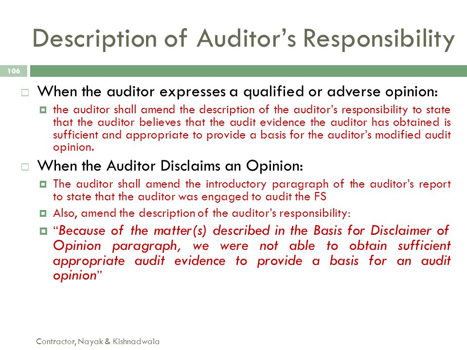 Description of Auditor's Responsibility