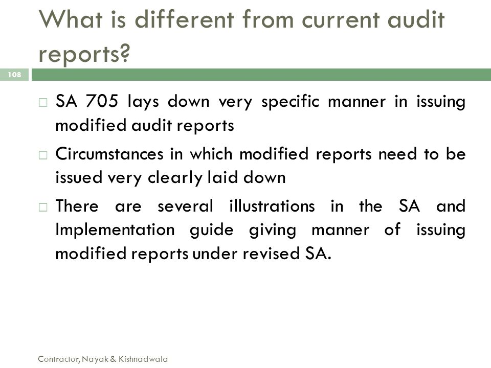 What is different from current audit reports