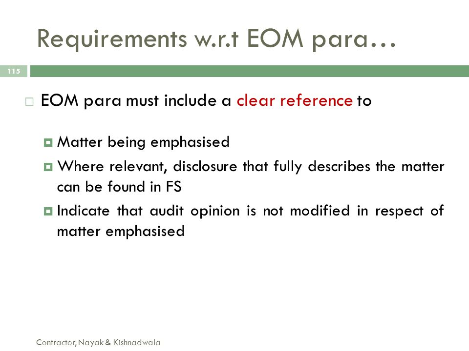 Requirements w.r.t EOM para…
