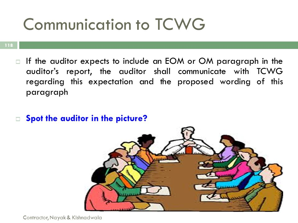 Communication to TCWG