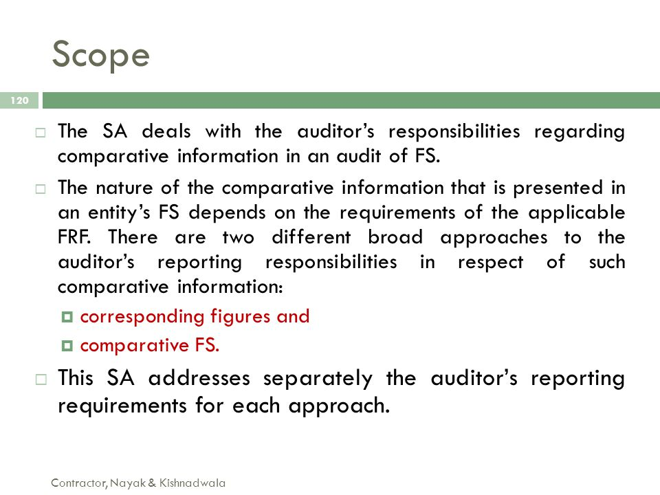Scope The SA deals with the auditor's responsibilities regarding comparative information in an audit of FS.
