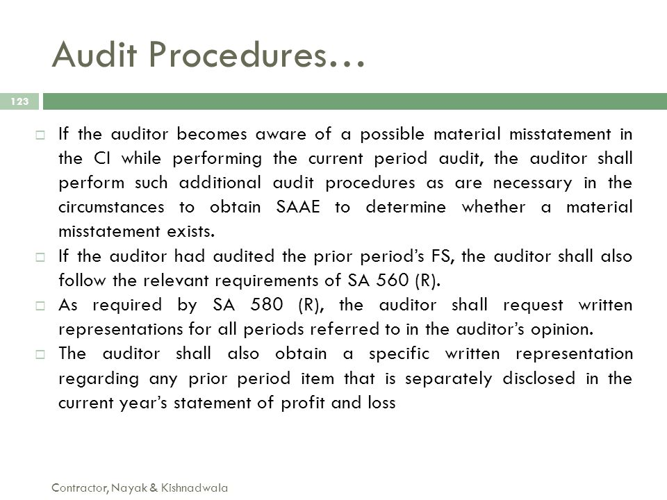Audit Procedures…