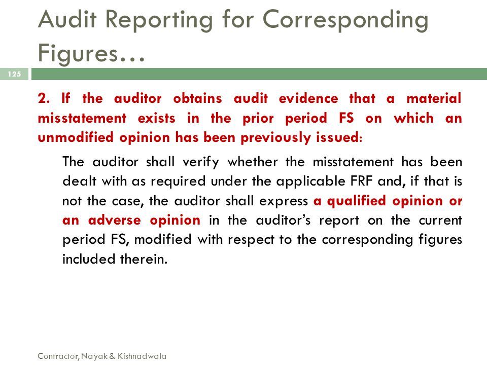 Audit Reporting for Corresponding Figures…