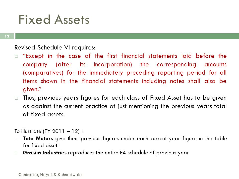 Fixed Assets Revised Schedule VI requires:
